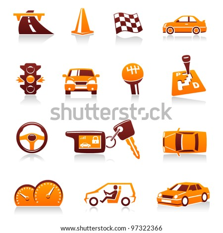 Cars and automotive vector icon set. Driver, traffic light, racing flag, automatic transmission, handle gear, cone, steering wheel, automobile dashboard, keys, road, speed, vehicles, auto symbols - stock vector