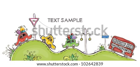 "cars and bus on hills ""Happy world"" collection - stock vector"