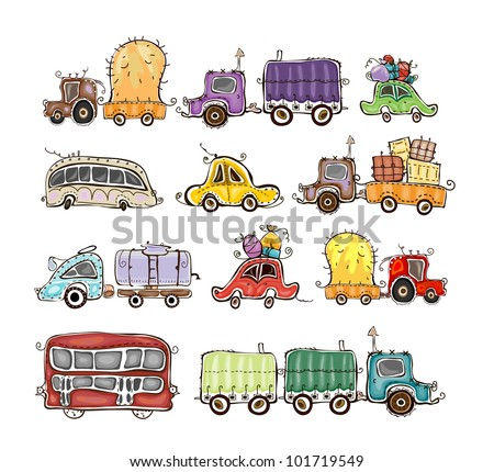 cars and lorries set - stock vector
