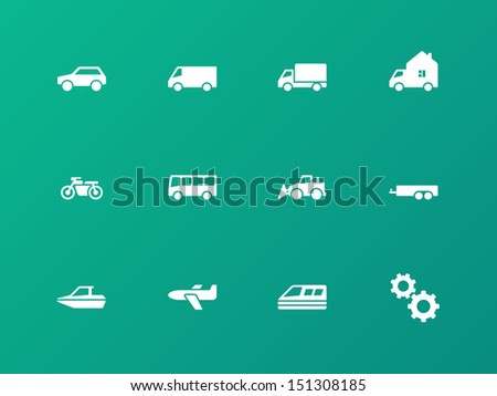 Cars and Transport icons on green background. Vector illustration. - stock vector