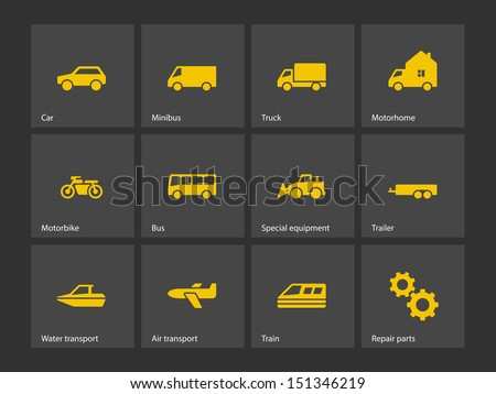 Cars and Transport icons. Vector illustration. - stock vector