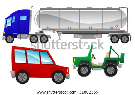 Cars and Trucks 1 - stock vector
