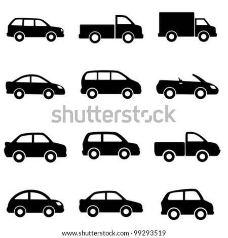 Cars and trucks in black - stock vector