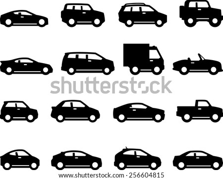 Cars and trucks with detailing. Vector icons for digital and print projects. - stock vector