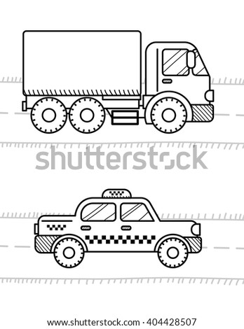 Cars And Vehicles Coloring Book For Kids Dump Truck Taxi Cab