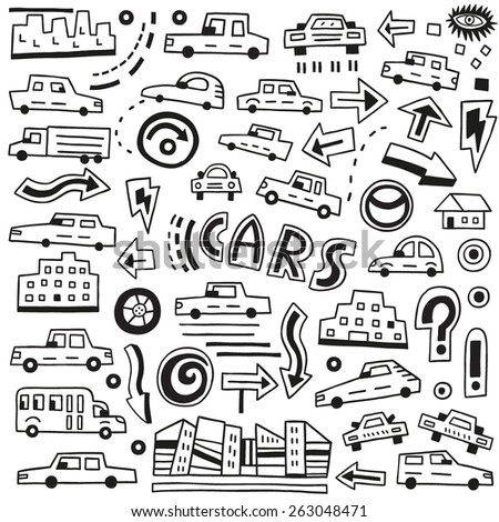 cars  doodles - stock vector