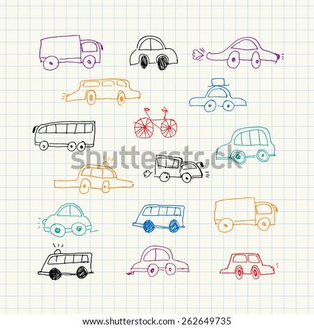 Cars doodles set - stock vector