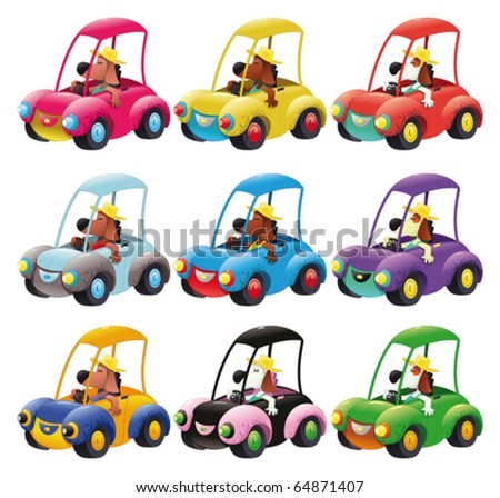 Cars group guided by dog. Funny cartoon and vector isolated objects - stock vector