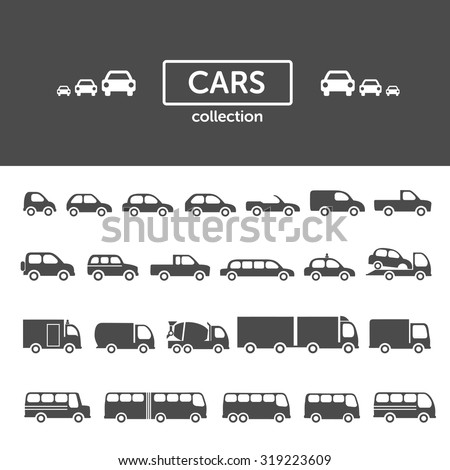 Cars icon collection - set of different car types, transportation concept - stock vector