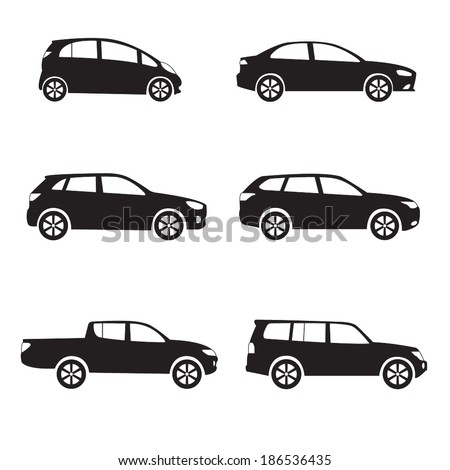Cars icon set. Different vector car forms. - stock vector