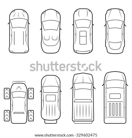 Cars icon set in thin line style, top view - stock vector