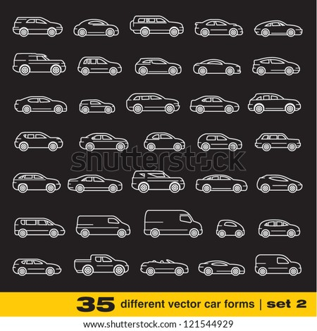 Cars icons set 2. 35 different outline vector car forms - stock vector