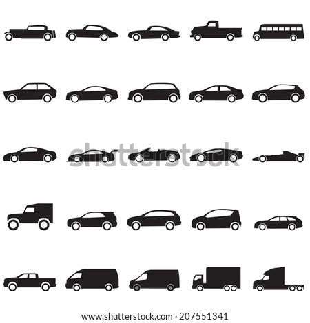 Cars icons set ,vector EPS10 - stock vector