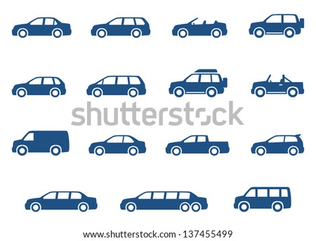 Cars icons set vector silhouettes of vehicles stock vector