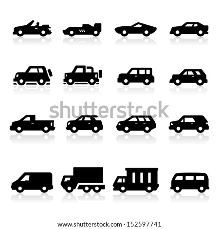 Cars Icons three - stock vector