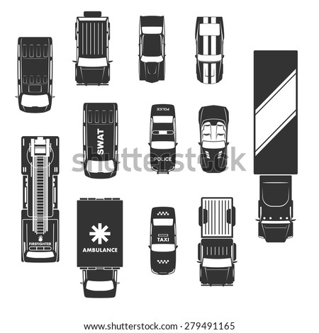 cars icons top view - stock vector