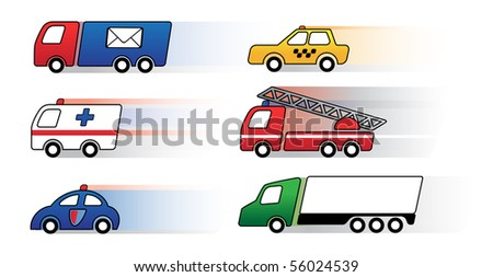 Cars in action. Vector icon set - stock vector