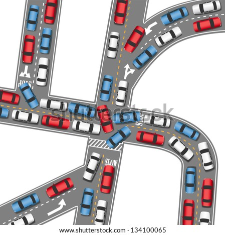Cars in bumper to bumper traffic jam in busy drive time on busy roads - stock vector