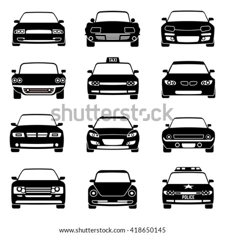 Cars in front view black vector icons. Automobile black and car taxi transport. Police car vehicle illustration - stock vector