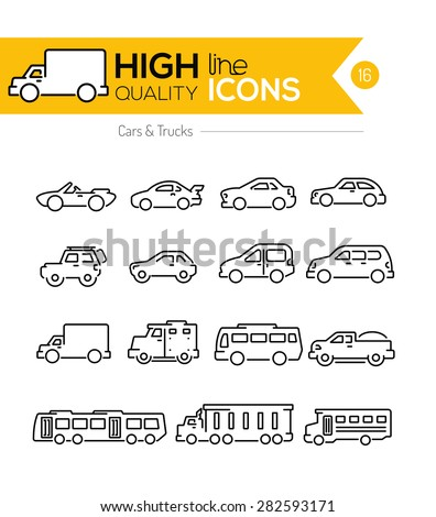Cars line icons two - stock vector