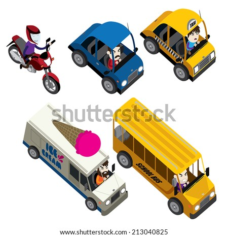 cars, motorcycles, buses and truck isometric set - stock vector