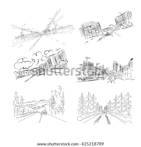 Cars on city road, set of hand drawn illustrations for your design - stock vector