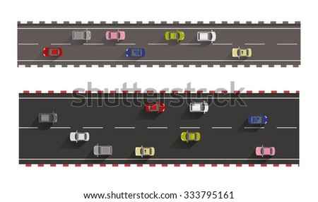 cars on roads top view isolated on white background vector  - stock vector