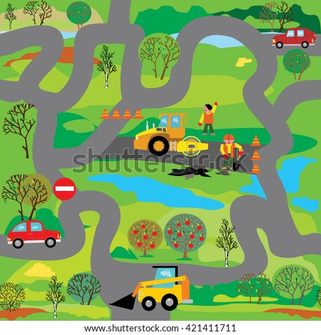 Cars on the road. Vector seamless pattern, or play mat, or educational maze for children (Help loader to find way to road repair)