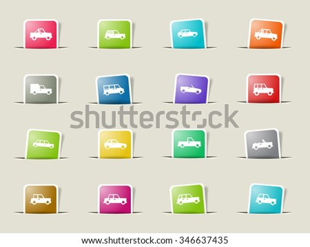 Cars paper icons for web - stock vector