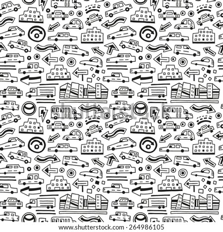 cars - seamless background - stock vector