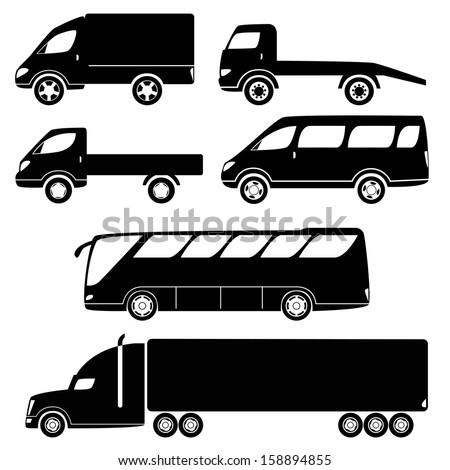 Cars silhouettes vector collection - van, open lorry, wrecker, minibus, trailer, bus - stock vector