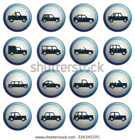 Cars simply symbols for web  icons - stock vector
