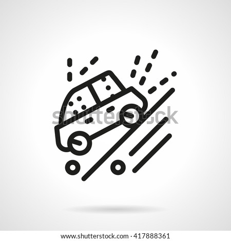 Cars sport competition. Automobile moves down on a slope dirt road. Warning sign. Simple line vector icon - stock vector