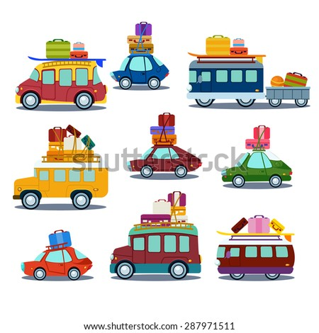 Cars to travel, the bus with suitcases, van, vector illustration