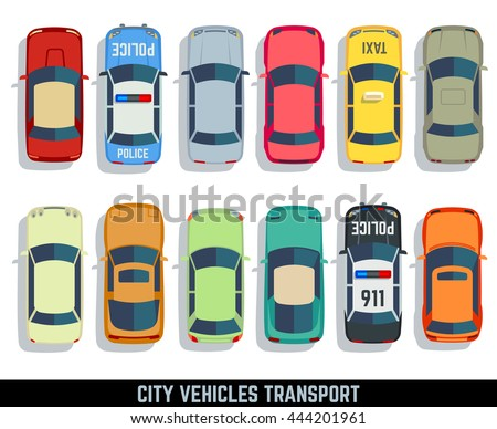 Cars top view vector flat city vehicle transport icons set. Automobile car for transportation, auto car icon illustration - stock vector