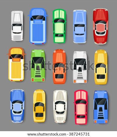 Cars Transport top view icon set isolated vector illustration in flat style - stock vector