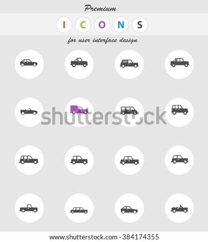 Cars  vector icons for web sites and user interface - stock vector