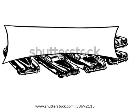 Cars With Banner - Retro Clip Art - stock vector