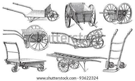 Cart collection / vintage illustration from Meyers Konversations-Lexikon 1897 - stock vector