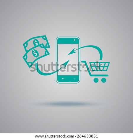 cart, icon, money, phone, icon, flat, vector, illustration  - stock vector