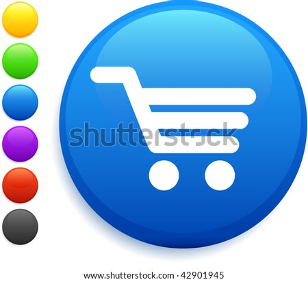 cart icon on round internet button original vector illustration 6 color versions included - stock vector