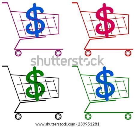 cart with dollar - stock vector