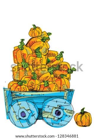 cart with pumpkins - cartoon - stock vector
