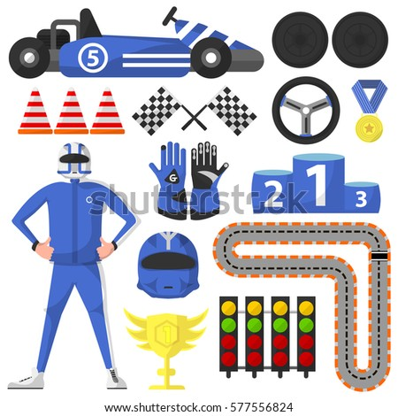 Carting Rally Car Victory Symbols Collection Stock Vector 577556824
