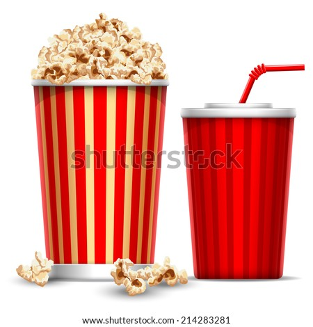 Carton bowl full of popcorn and paper glass of drink - stock vector