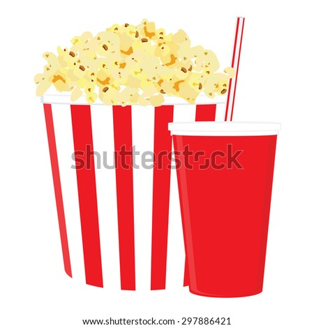 Carton bowl full of popcorn and paper glass of drink. Disposable cup for beverages with straw. Popcorn in cardboard box