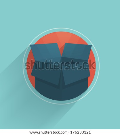 Carton box in flat design - stock vector