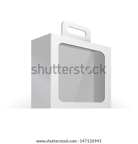Carton Or Plastic White Blank Package Box With Handle And Rounded Window. Briefcase, Case, Folder. Illustration Isolated On White Background. Ready For Your Design. Product Packing Vector EPS10  - stock vector