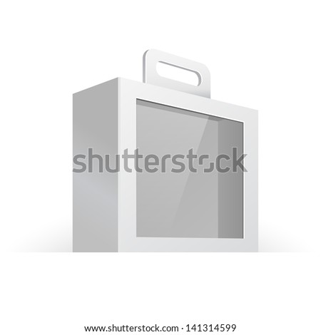 Carton Or Plastic White Blank Package Box With Handle And Window. Briefcase, Case, Folder, Portfolio. Illustration Isolated On White Background. Ready For Your Design. Product Packing Vector EPS10 - stock vector