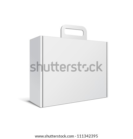 Carton Or Plastic White Blank Package Box With Handle. Briefcase, Case, Folder, Portfolio Case. Illustration Isolated On White Background. Ready For Your Design. Product Packing Vector EPS10 - stock vector